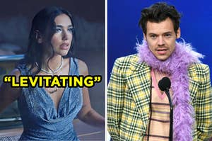 """On the left, Dua Lipa in the """"levitating"""" music video, and on the right, Harry Styles accepting his Grammy award"""