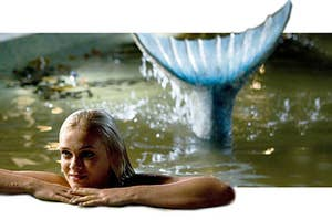 Aquamarine the mermaid chilling in a pool