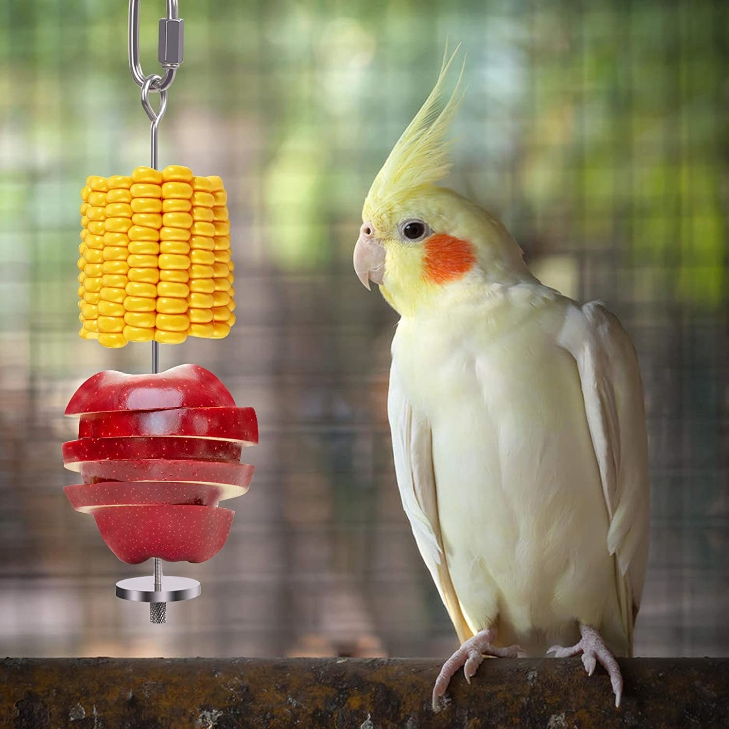 Bird with the tower holding slices of apple and corn