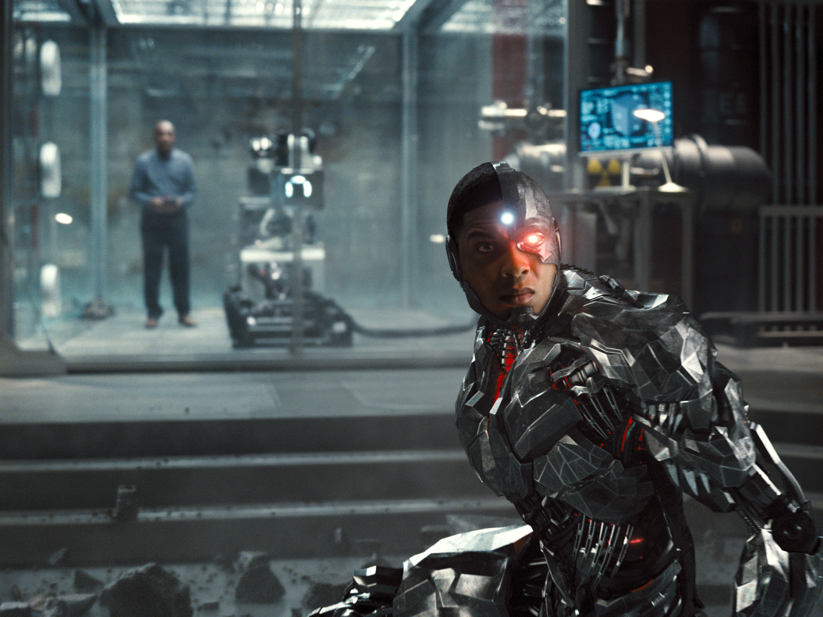 Cyborg in front of a damaged lab