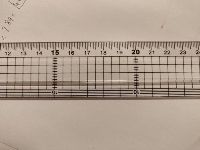 A clear ruler with millimeter marks of different lengths