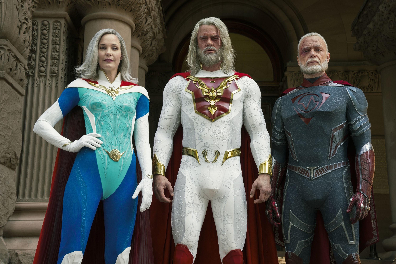 "Leslie Bibb, Josh Duhamel, and Ben Daniels in ""Jupiter's Legacy"""