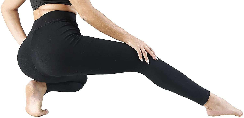 Model wearing black high-waist leggings
