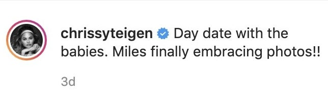 A screenshot of Chrissy's comment about Miles