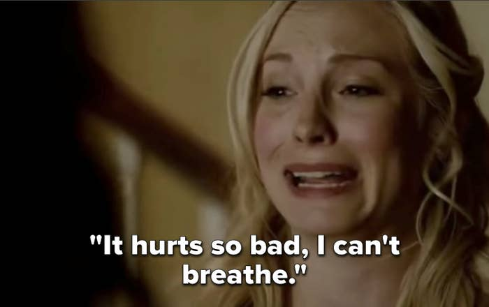 """Caroline saying """"It hurts so bad, I can't breathe"""" on The Vampire Diaries"""