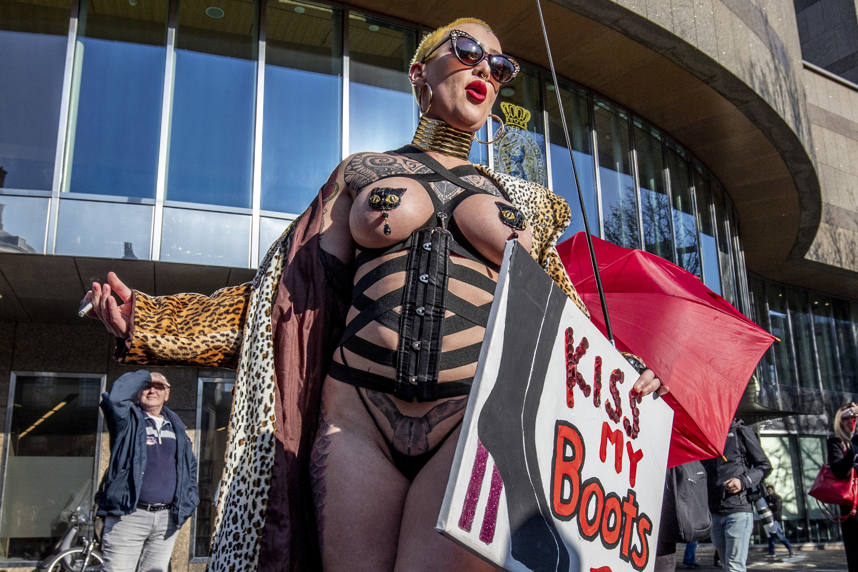 An image of a woman at a march for sex worker's rights