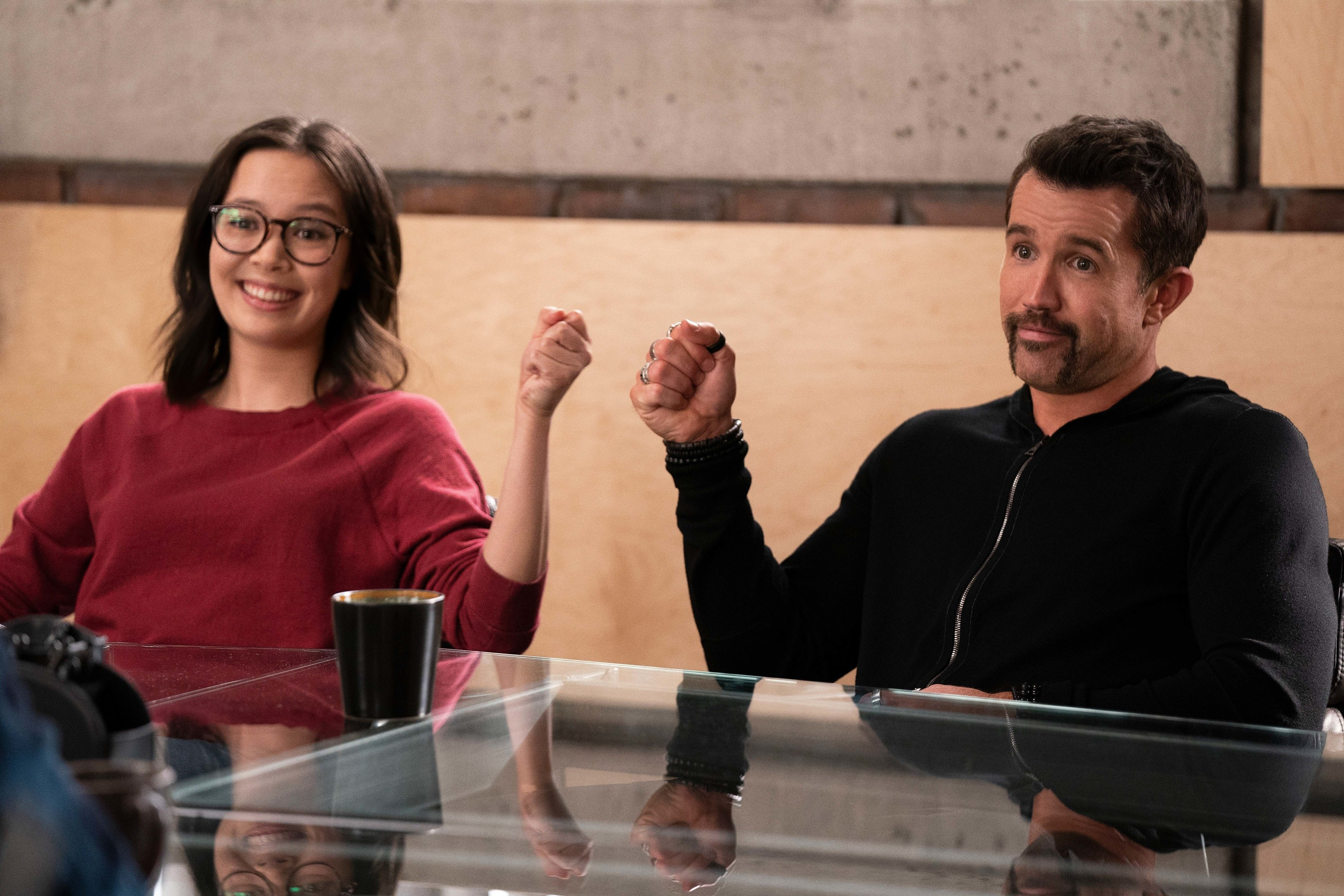 """Charlotte Nicdao and Rob McElhenney in """"Mythic Quest"""""""