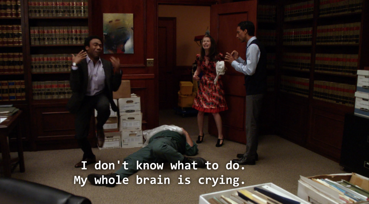 """Troy saying """"I don't know what to do, my whole brain is crying"""""""