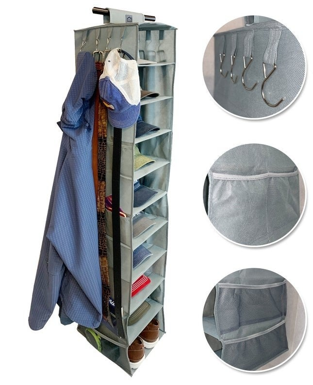 the hanging organizer full with hats and shoes and close ups of the hanging hooks and pockets with more belongings able to be stored