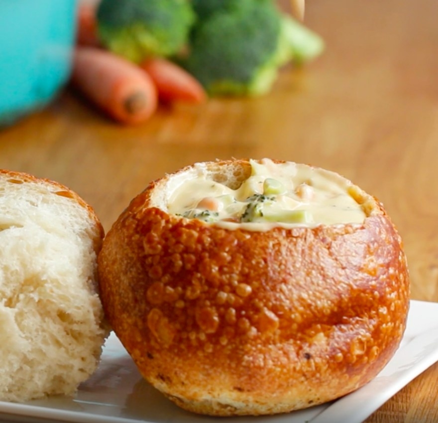 The cheddar broccoli soup, served in a bread bowl