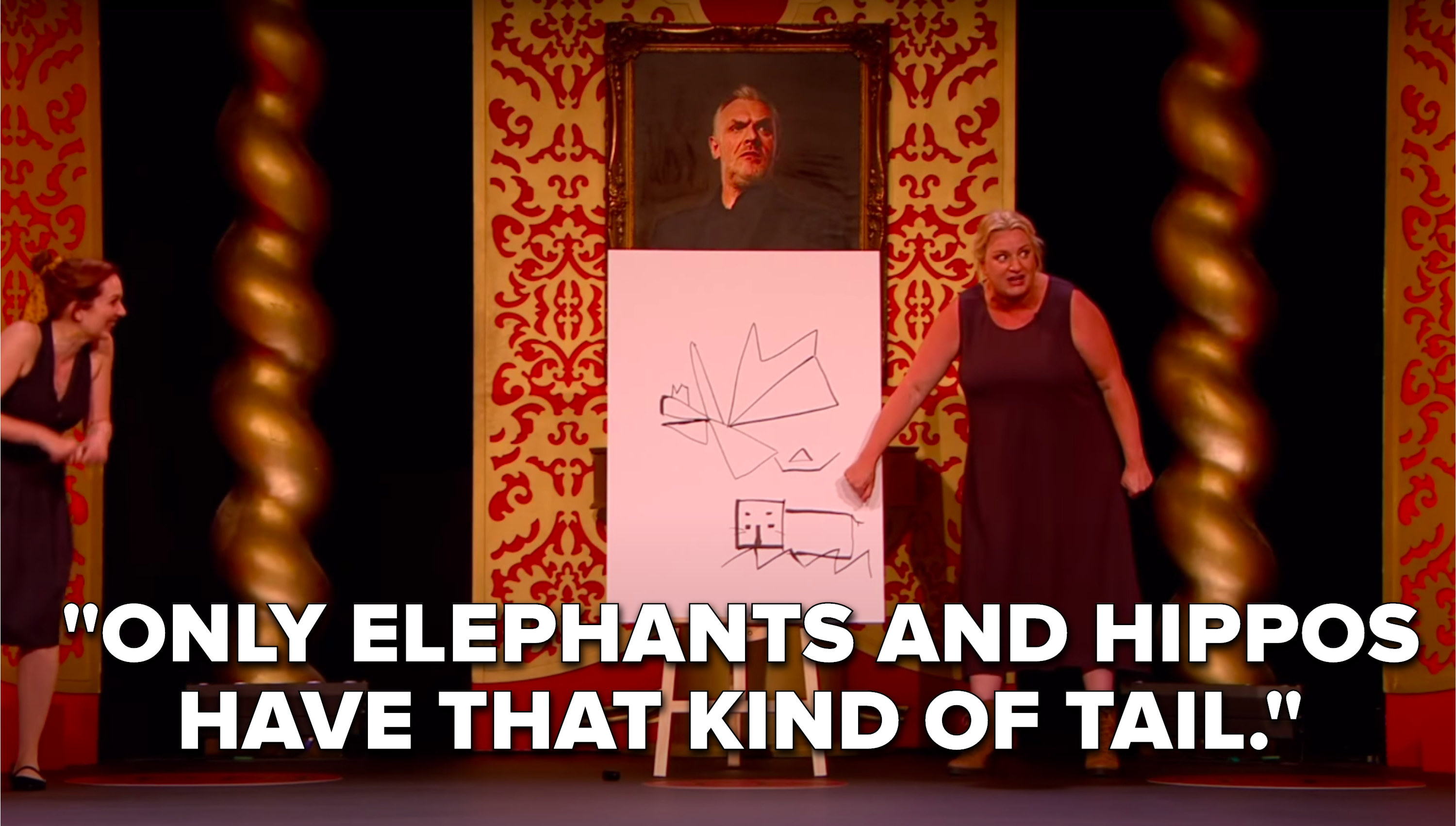 """Daisy May Cooper yells, """"ONLY ELEPHANTS AND HIPPOS HAVE THAT KIND OF TAIL"""""""