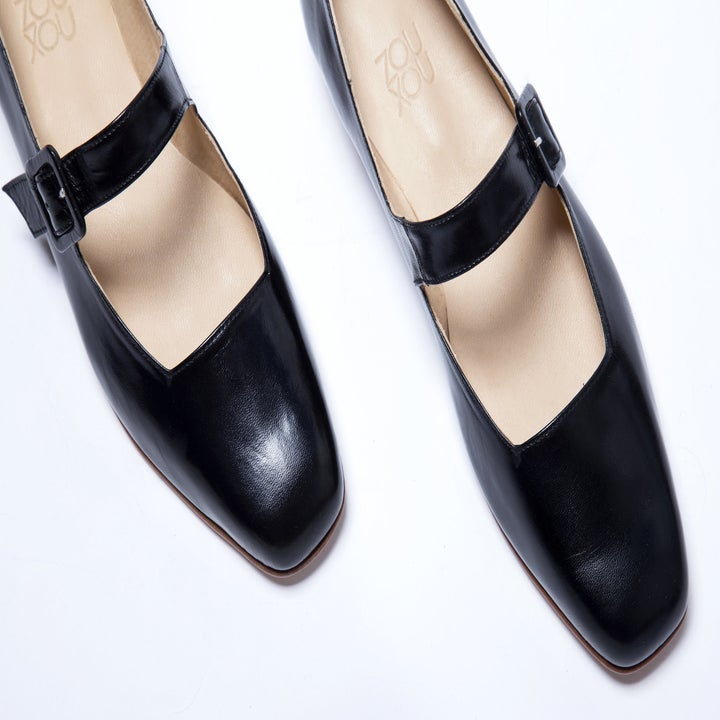 a close-up of the almond-toe of the Mary Jane shoes