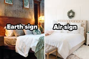 """Green bedroom with words """"earth sign"""" and white bedroom with words """"air sign"""""""