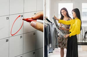 On the left, a date circled on a calendar, and on the right, two people looking at a dress on a hanger