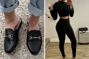 on left reviewer wearing black loafers and on right reviewer wearing matching two piece set