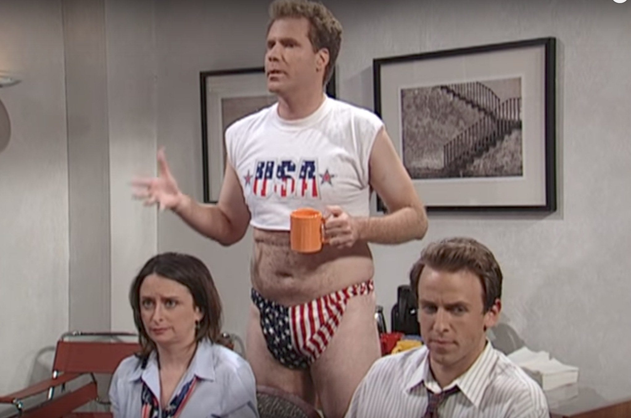 "Will Ferrell wearing a ""USA"" crop top and underwear on SNL"