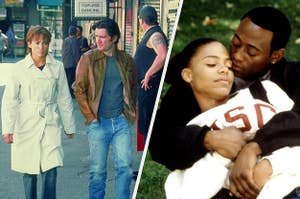 split image from two movies on the left is enough and on the right is love and basketball