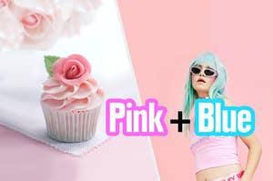 A model wearing a blue wig and all pink next to a pink cupcake with a rose garnish