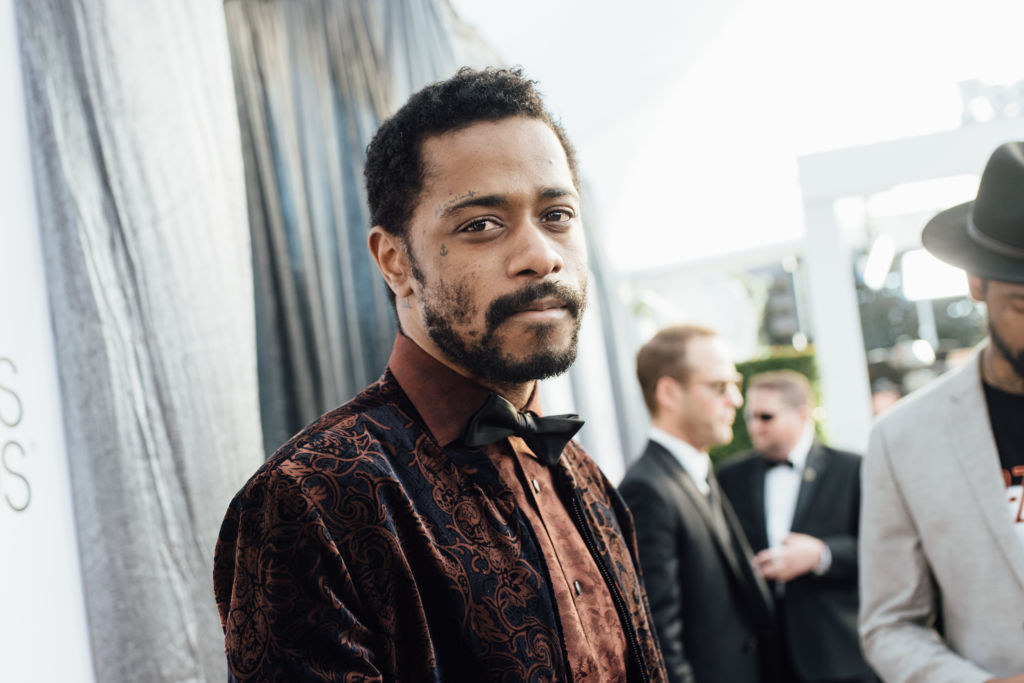 Lakeith Stanfield shows off his face tattoo at the 25th annual Screen Actors Guild Awards