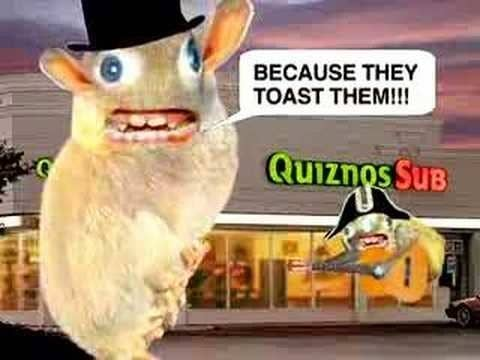 "The Spongemonkeys singing ""Because they toast them"" in front of a Quiznos"