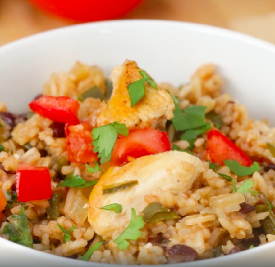 The chicken and rice dish in a bowl