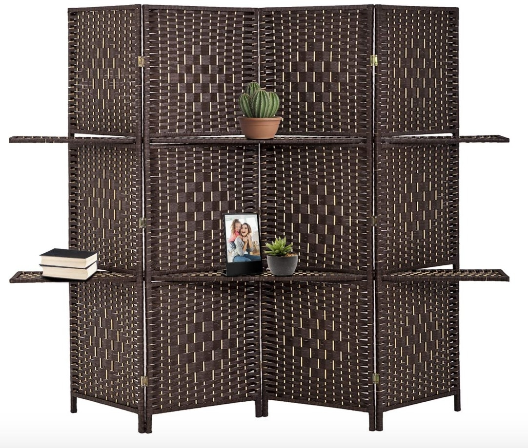 Four panel room divider with shelving