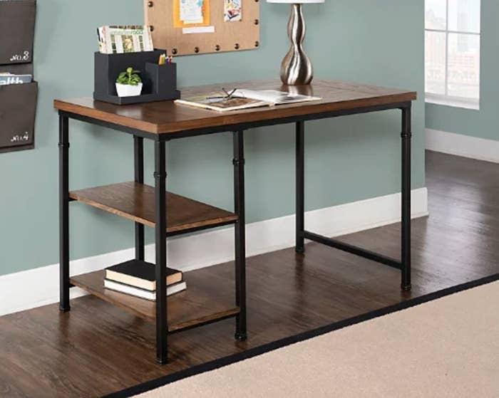 A 2-shelf desk