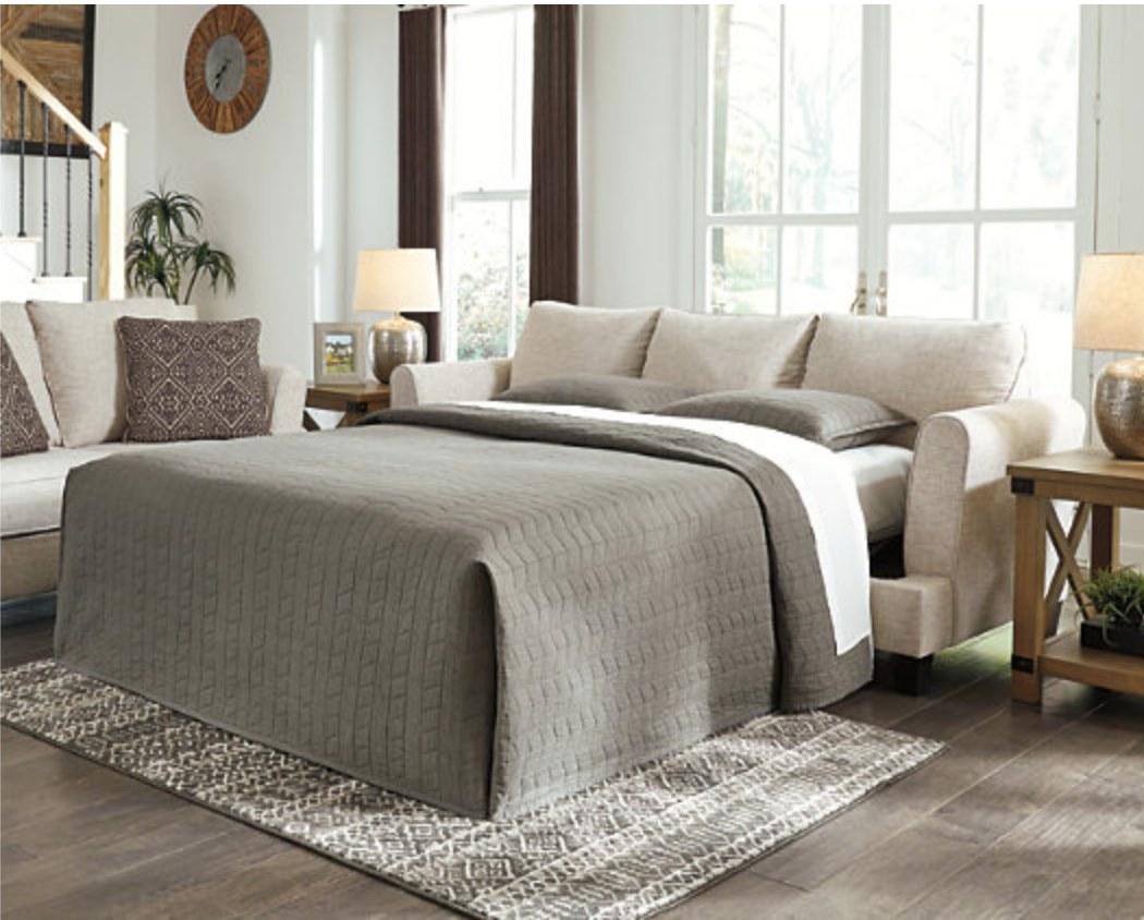 A sleeper sofa
