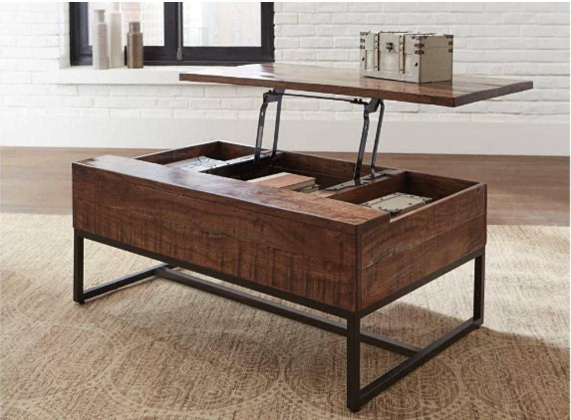 A coffee table with a lift-top