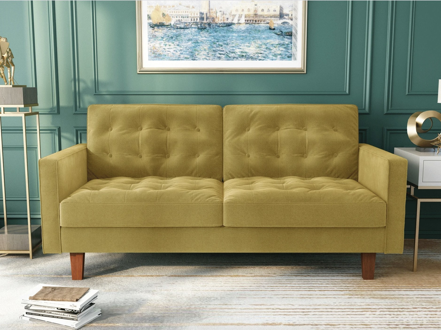 the sofa in gold