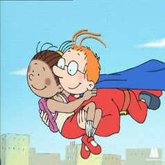 Martin as a superhero carrying a girl in the sky