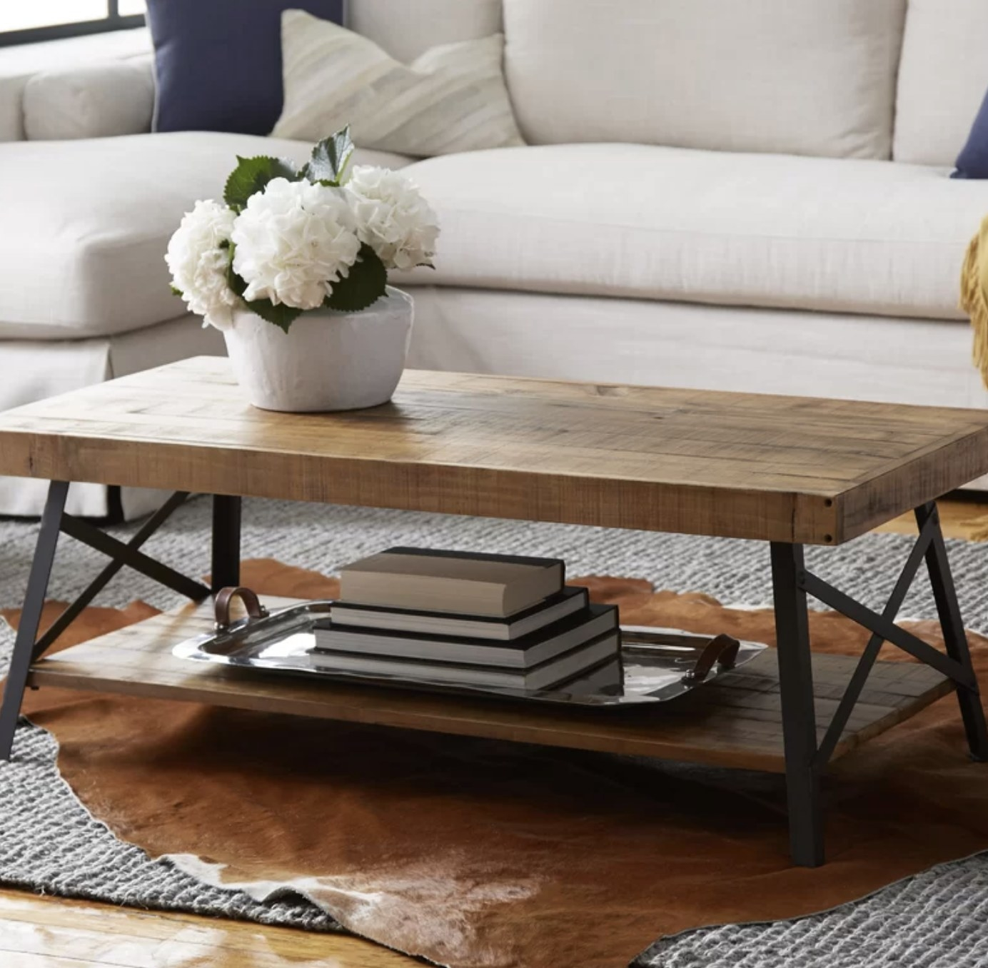 the coffee table in natural pine