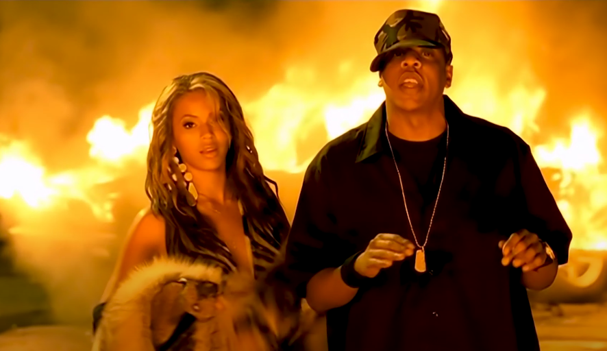 Screenshot of Beyoncé and Jay-Z in the Crazy in Love music video