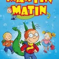 Opening title scene of Martin Morning with Martin as a dragon and two friends running behind him