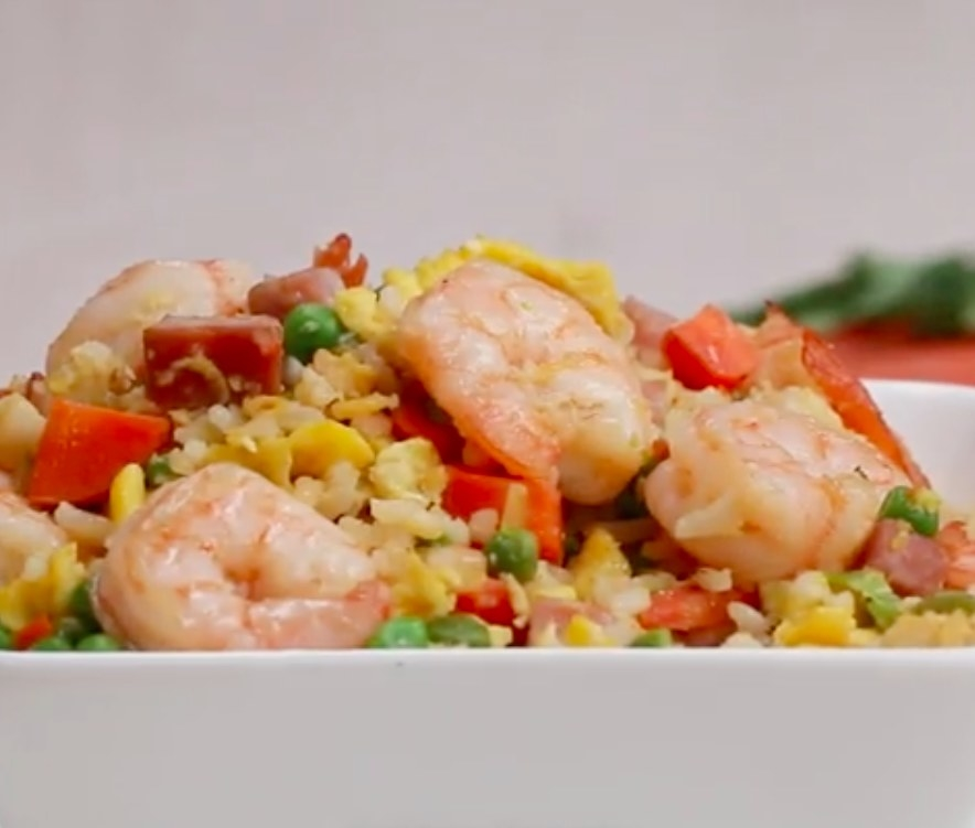 The shrimp fried rice in a bowl