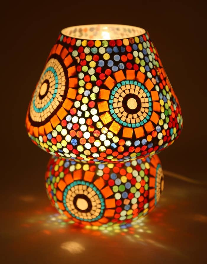 A mosaic lamp on a table
