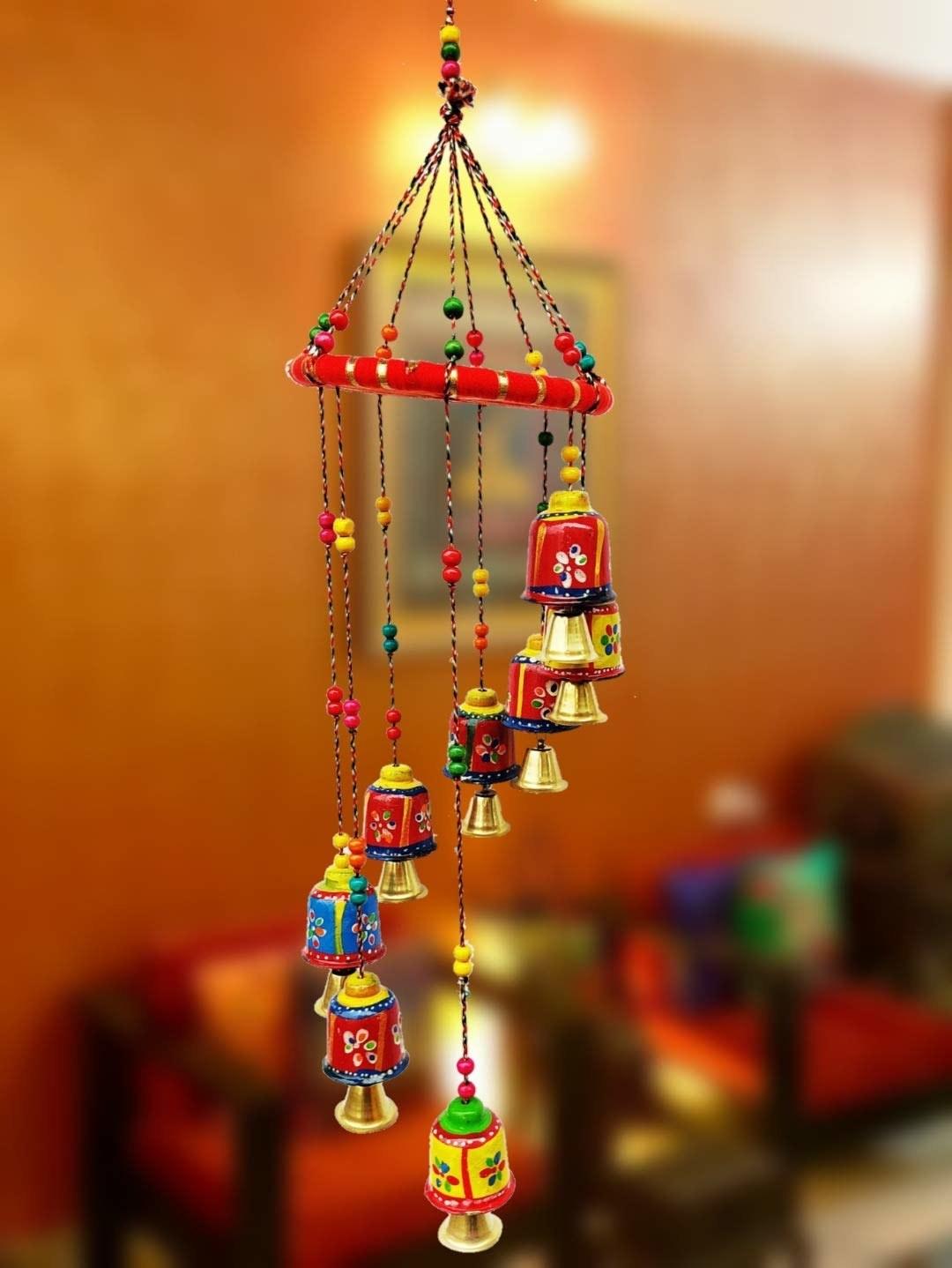 A set of colourful bells