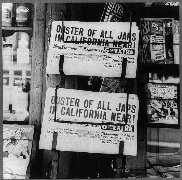 "A newspaper headline reads ""Ouster of all Japs In California near"""