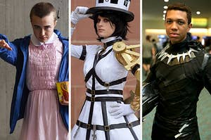 three cosplay artists dressed in very detailed costumes