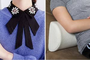 person wearing a sweater and bow dicky under sweater, person leaning on a lumbar pillow