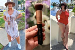 person with tie dye maxi dress on the left, person holding up a makeup brush in the middle, and a person wearing a red bathing suit on the right