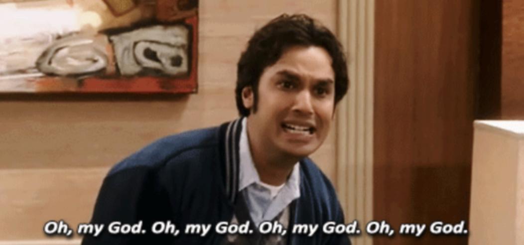 "Raj looking shocked in ""The Big Bang Theory"""