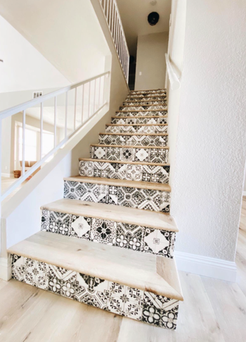 reviewer image of paper applied to stairs