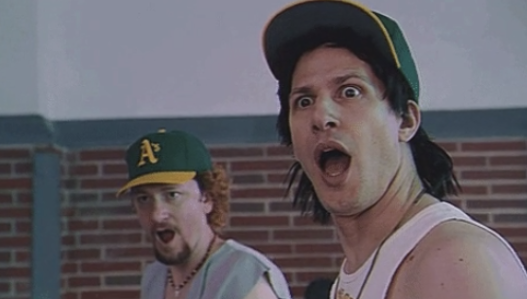 Andy Samberg with his jaw dropped