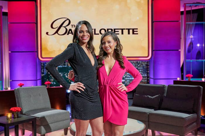 Michelle and Katie posing on the After the Rose reunion set