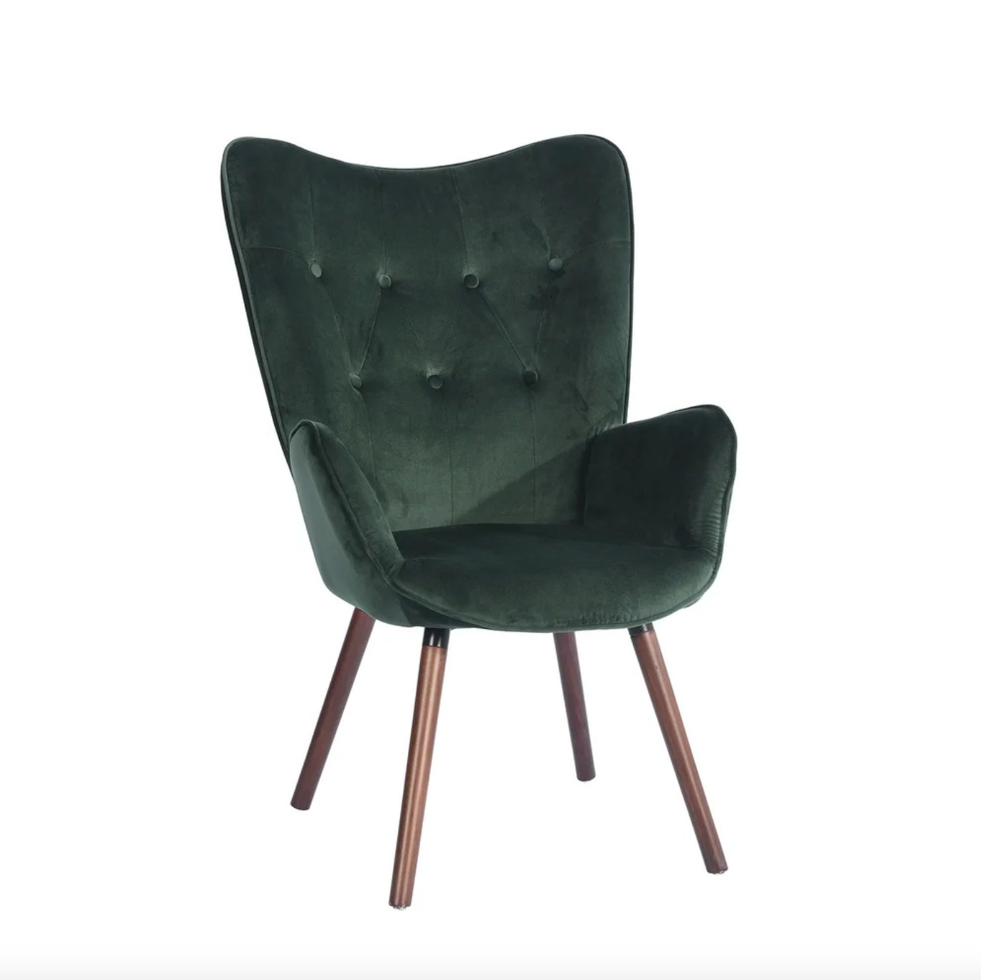 The velvet tufted accent chair in green