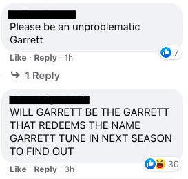 "One person said ""Please be unproblematic Garret"""
