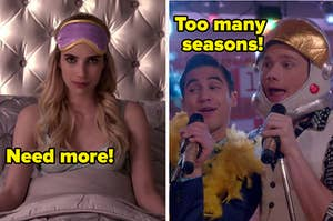 """chanel oberlin on the left with """"need more"""" written over it and kurt and blaine on the right with """"too many seasons"""" written over it"""