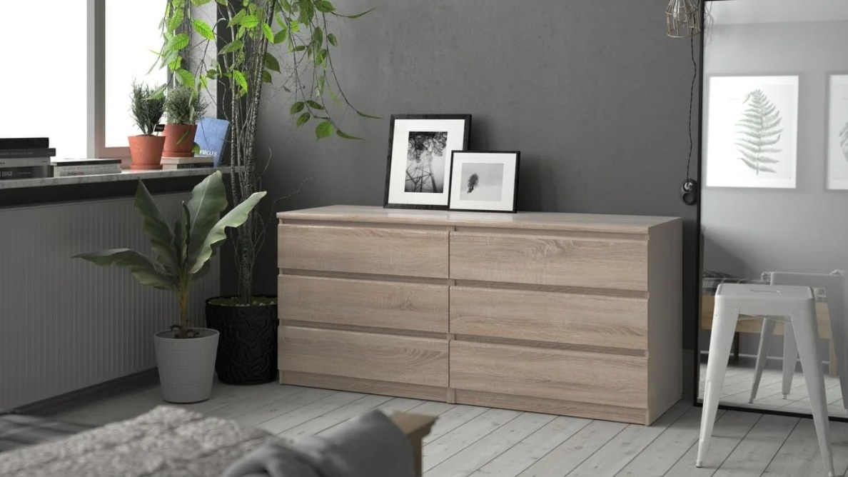 The six-drawer double dresser in truffle