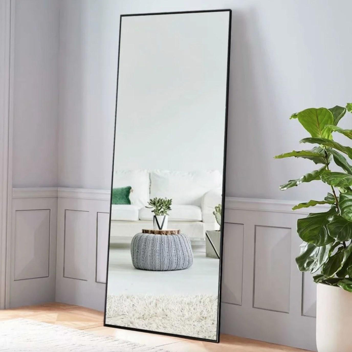 The floor length mirror in black